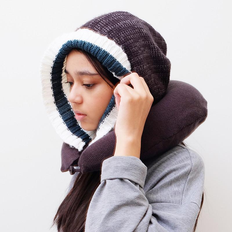暖暖毛帽充氣頸枕 - 毛呢綠