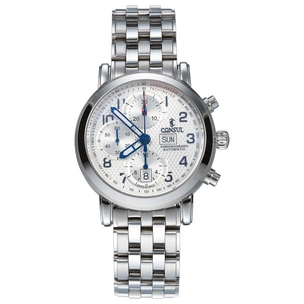 CONSUL 總督錶三眼碼錶計時系列極緻腕錶-白/42mm