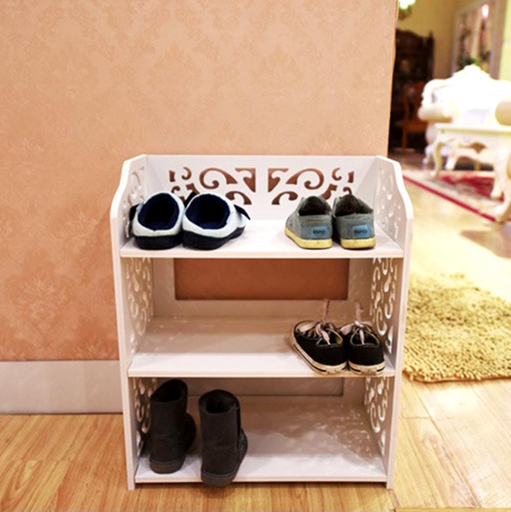 osundiy木塑板白色雕花三層鞋架ce178-xj001