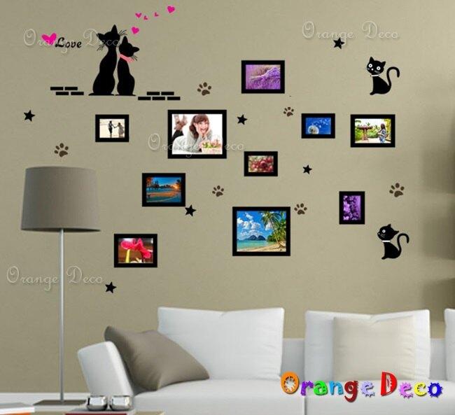 貓咪相框 DIY組合壁貼 牆貼 壁紙 無痕壁貼 室內設計 裝潢 裝飾佈置【橘果設計】
