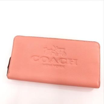 COACH【コーチ】 ロゴ型押し 長財布(小銭入れあり) レザー レディース 【中古】