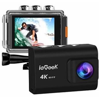 アクションカメラ 4K WiFi搭載 ieGeek 2000万画素 30M 防水 ダイビング用のカメラ 手ブレ補正 ウェアラブルカメラ 1200mAhバッテリー2個