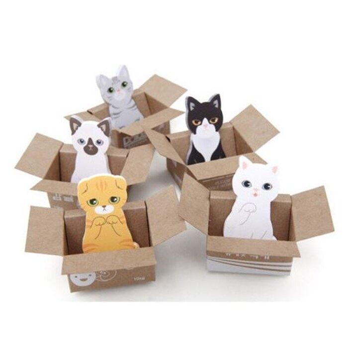 [Hare.D] 韓版 紙箱貓咪便利貼 喵星人 N次貼 便條貼 便簽貼 紙箱 貓星人 貓奴必備 便條紙 紙條