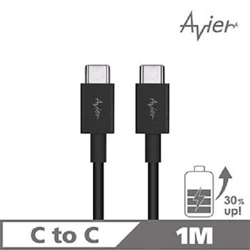 【Avier】Type C to C 極速充電/傳輸線_Type C專用/黑色(1M)