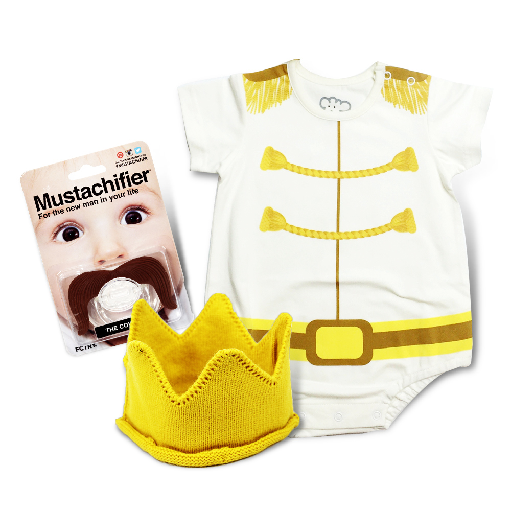 【日安朵朵】 Mr.Charming 白馬王子經典禮盒組(MIT短袖連身衣+皇冠帽+鬍子奶嘴)