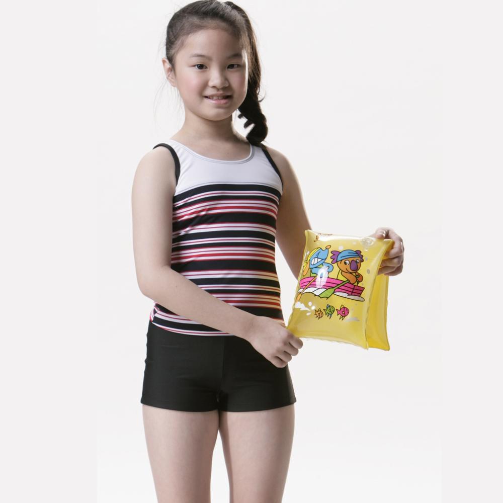 【SAIN SOU】女童兩件式泳裝附泳帽A82208
