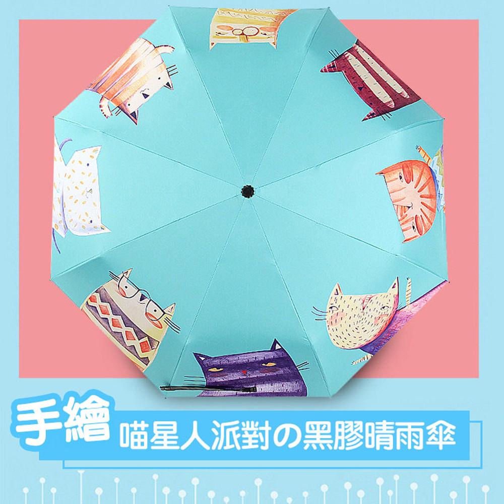 【莫內的午後】職人手作黑膠晴雨傘/降溫防曬傘/手開陽傘S6_喵星人派對