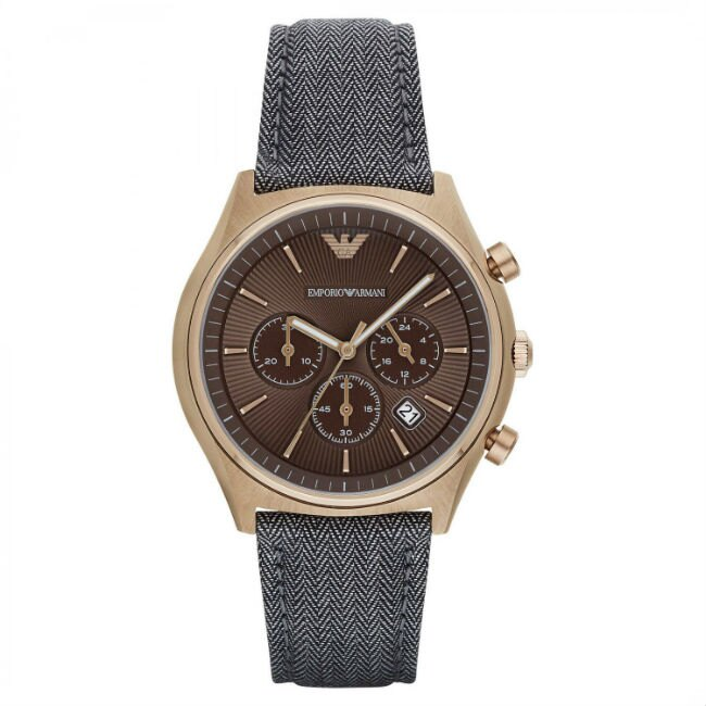 EMPORIO ARMANI 亞曼尼 AR1976 鄉村經典懷舊計時腕錶/咖啡面42mm