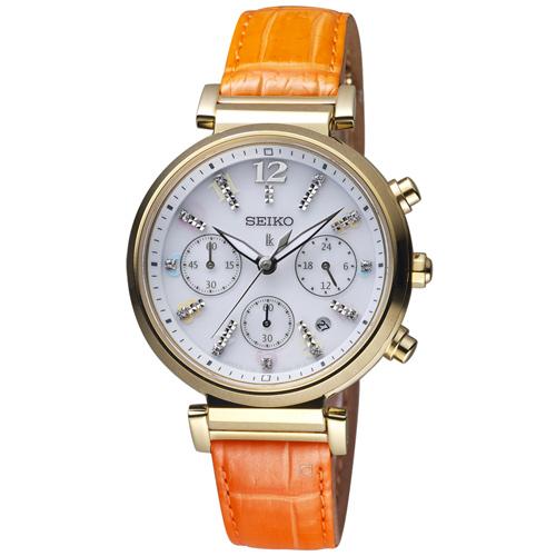SEIKO 精工 LUKIA 繽紛晶鑽太陽能女腕錶  V175-0DY0Y  SSC842J1
