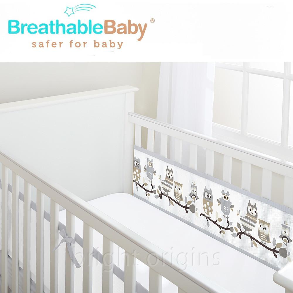英國 breathablebaby 透氣嬰兒床圍 兩側型 (19437貓頭鷹款)
