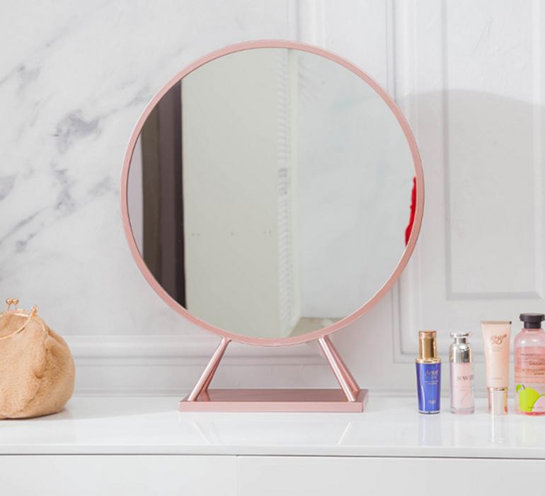 鏡子 60cm 圓鏡 化妝鏡 梳妝鏡 女 臺式梳妝鏡 宿舍 桌面 網紅鏡 抖音梳妝鏡 美妝鏡 梳妝鏡