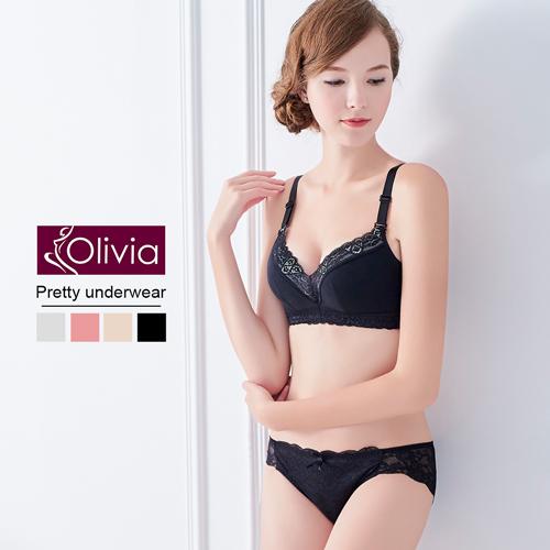 【Olivia】無鋼圈深V輕薄棉蕾絲內衣褲套組(黑色)