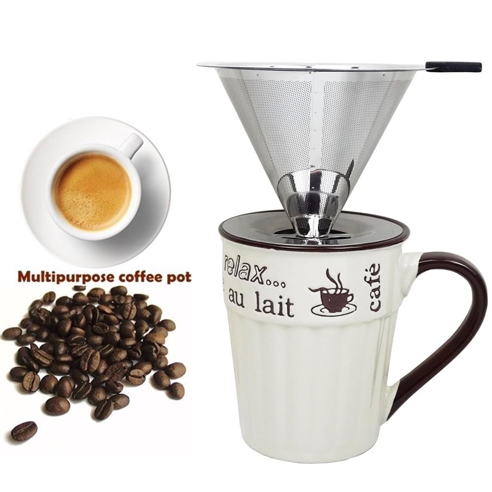 獨享沖泡咖啡組大號316不銹鋼濾杯400cc休閒時光馬克杯泡咖啡 泡茶濾杯 手沖咖啡濾器