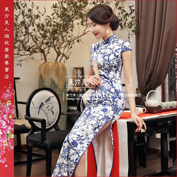 東方美人旗袍唐裝專賣店 青黛 仿絲軟緞時尚印花半月包袖長旗袍