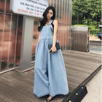 韓国ファッション レディース 大きいサイズ 薄い レトロ ストラップ デニムワンピース FREE SIZE!