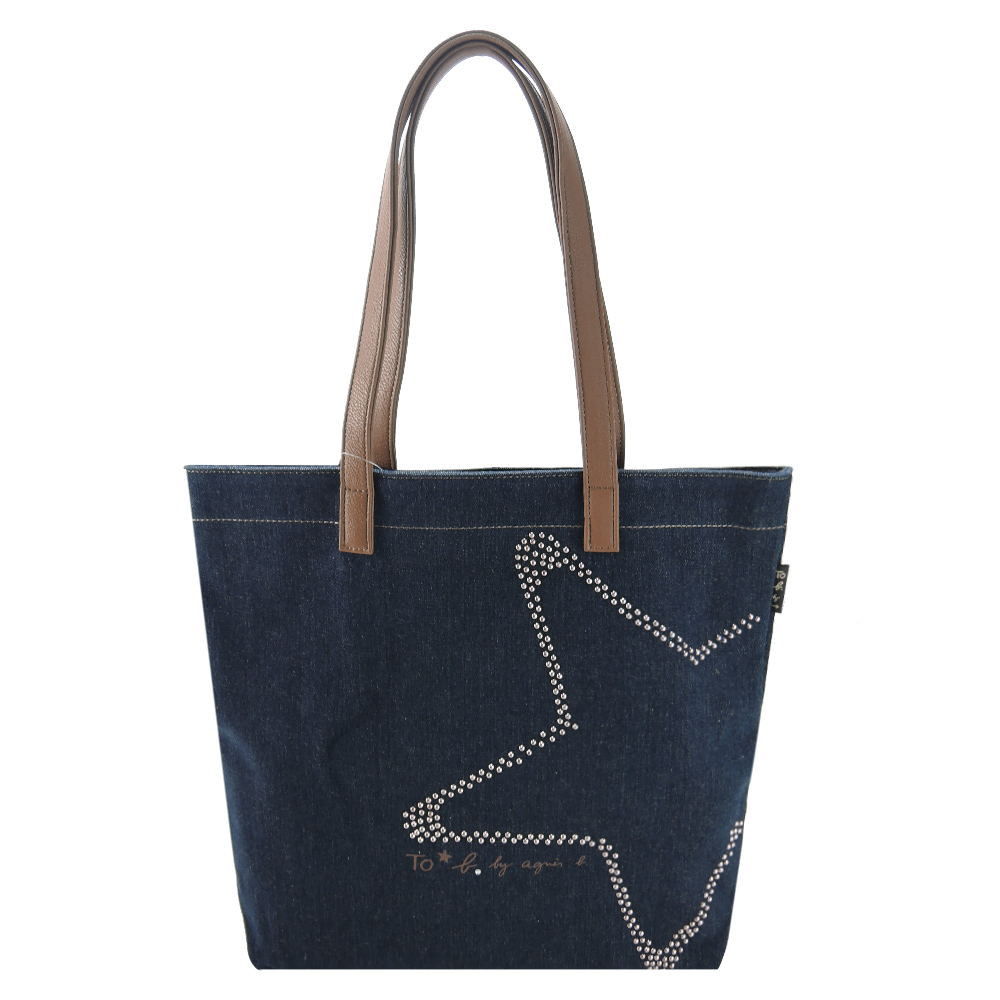 agnes b 鑲鑽星星牛仔單寧手提包(藍)