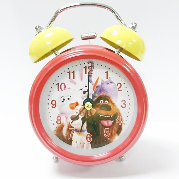 紅色款【日本進口正版】寵物當家 復古 鬧鐘 造型鐘 指針時鐘 燈光設計 環球影城 UNIVERSAL - 901079