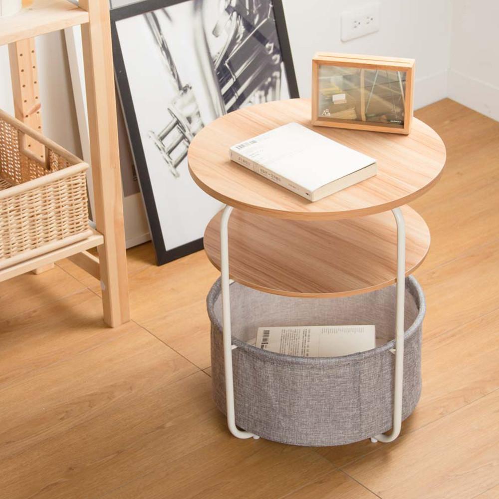 品田日居 雙層小圓桌附籃#茶几/矮桌/桌子/和室桌/造型桌/側桌