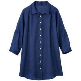 【レディース大きいサイズ】 フレンチリネン7分袖シャツ - セシール ■カラー:ネイビー ■サイズ:L,3L,5L,4L,LL,6L