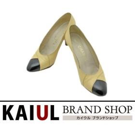 シャネル 靴 パンプス レザー ベージュ ブラック 黒色 バイカラー Bランク/中古  シャネル小物
