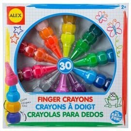 【美國ALEX】幼兒手指蠟筆(30色)【紫貝殼】
