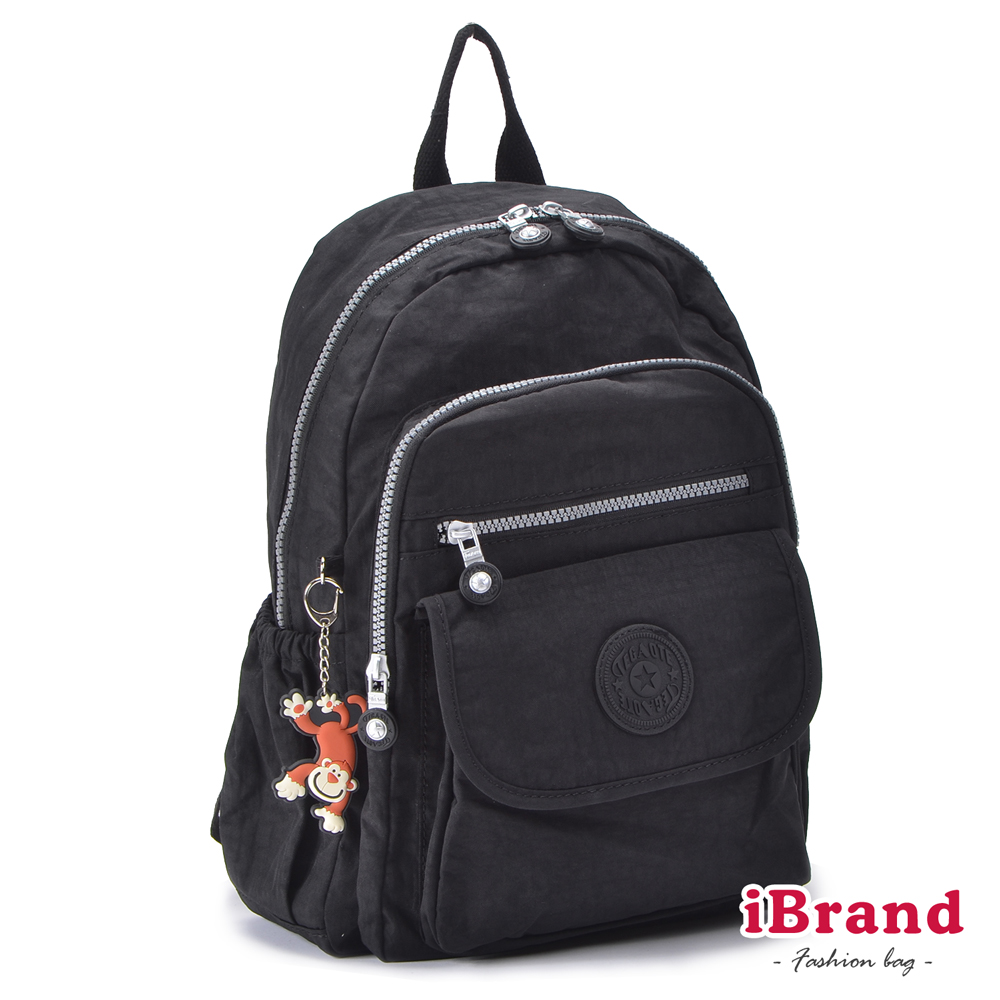 iBrand-後背包-簡約素色超輕盈尼龍多功能後背包-都會黑 TGT-1803501503-BK
