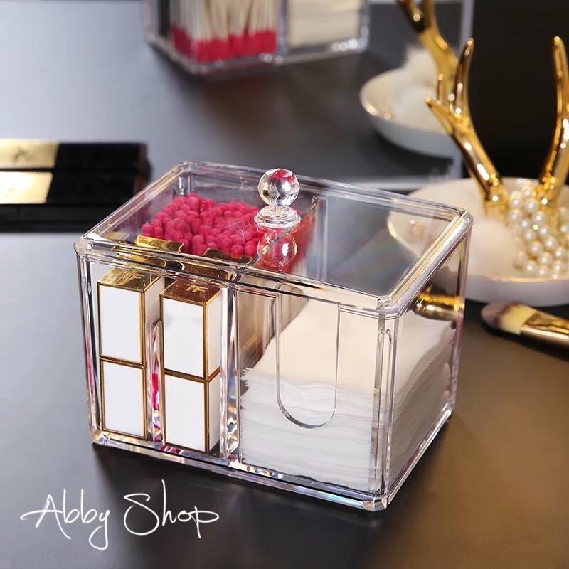 abby生活百貨鑽紋化妝棉收納盒 棉花棒收納盒 化妝品收納盒 化妝櫃 壓克力收納盒 收納架