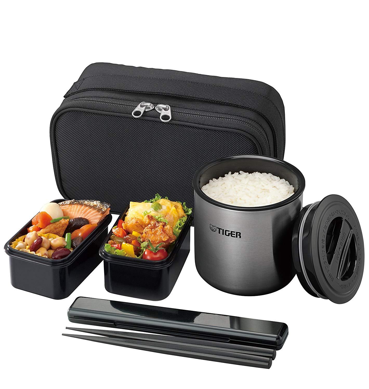 日本公司貨 TIGER 虎牌 LWY-E461 攜帶式便當組 真空保溫便當飯盒 不銹鋼 保溫 便當盒 保溫餐盒 飯盒 附提袋 0.98L 日本必買代購
