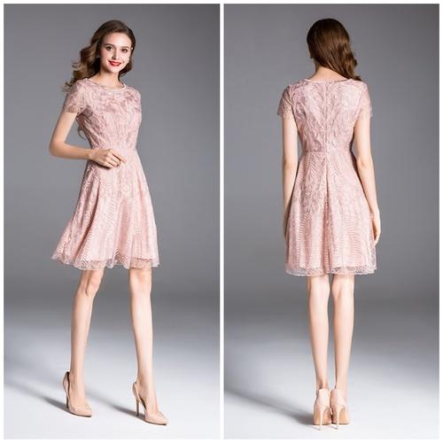 Olivia奧莉精品 葉子圖紋蕾絲短洋裝S~3XL 蕾絲洋裝 連身裙 小禮服 媽媽裝