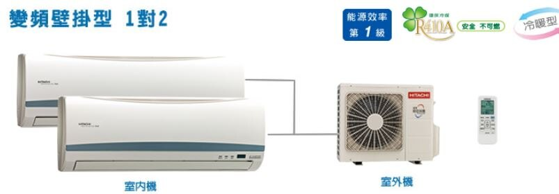 HITACHI 日立 變頻壁掛型 1對2 冷暖空調 RAS-22HK*2/RAM50HK