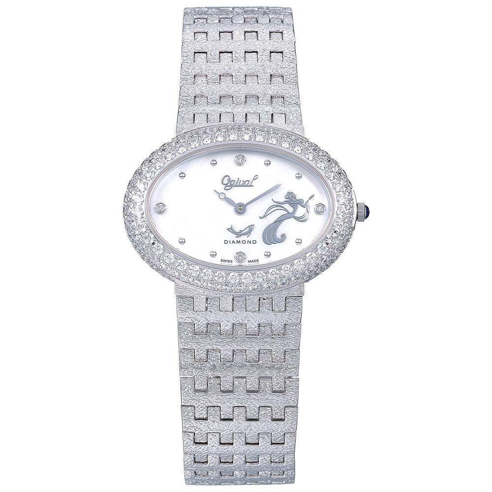 Ogival 瑞士愛其華  復刻無窮動石英珠寶錶-復刻銀28mm