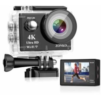 ZONKO アクションカメラ 4K Ultra HD高画質 16MP画素 30M防水 ZOOM等多機能 Wifi搭載 リモコン付き 1050mAhバッテリ2個 付属品19個 170度