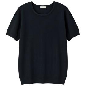 (GU)クルーネックセーター(半袖) NAVY S
