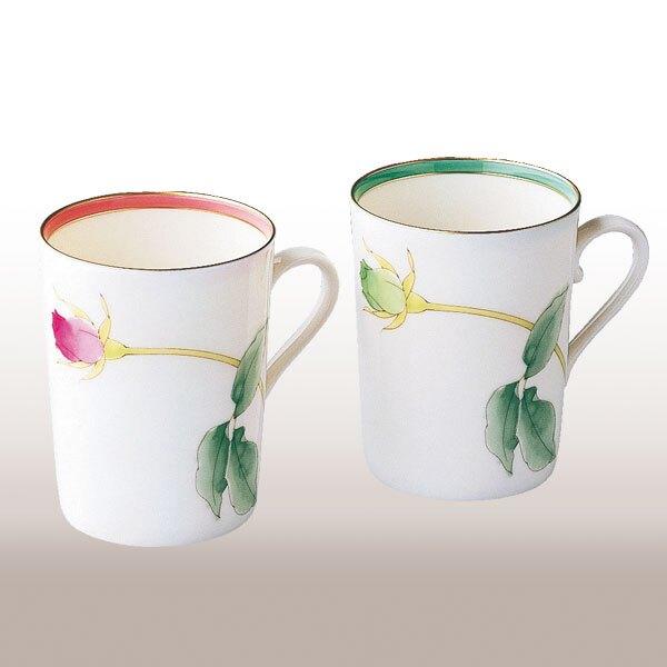 《富樂雅居》日本製 有田燒 香蘭社 亮彩 玫瑰 對杯組 2入 馬克杯