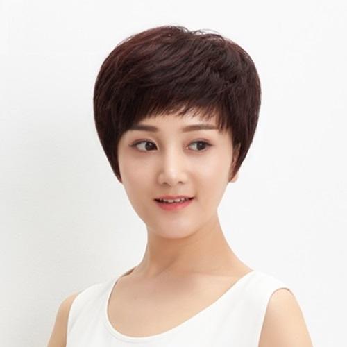 米蘭精品 整頂假髮真髮短假髮-自然舒適微捲俐落女假髮73uu34