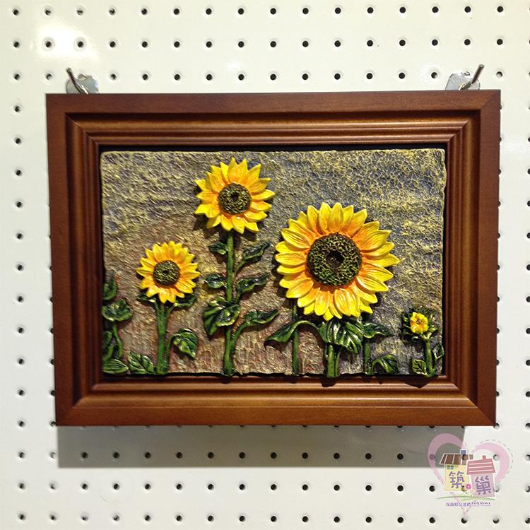 木製立體陶板橫式鑰匙盒/Key box-向日葵 / 打開內側有鏡面