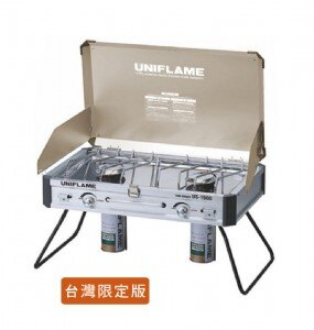 【露營趣】UNIFLAME U610329 瓦斯雙口爐 US-1900 台灣限定香檳金 休閒爐 瓦斯爐 快速爐 適用 露營 野炊
