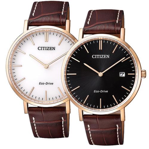 CITIZEN 星辰 簡約藍寶石光動能皮帶錶-黑面/白面  2色可選購~