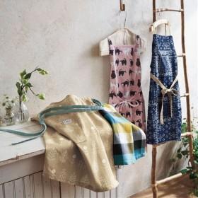 インド綿のエプロン ■カラー:ベージュ/草木