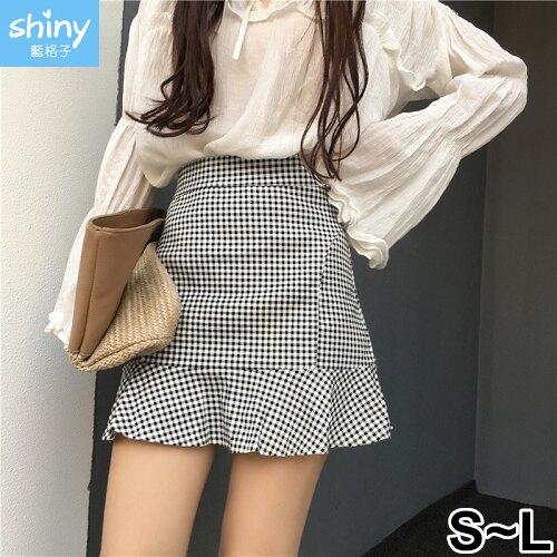 【V2312】shiny藍格子-夏日香氣.黑白格子高腰包臀A字短裙★★