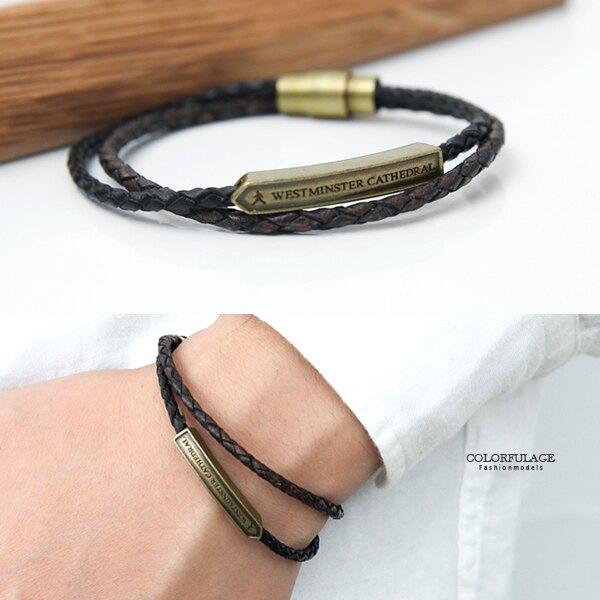 手環 真皮雙色雙線英文銅牌皮革手環 韓國帶回【NA451】