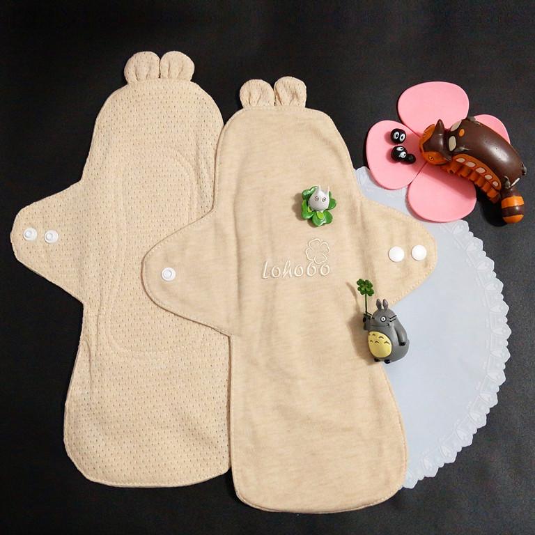 lohogo 可愛兔子耳朵布衛生棉/有機環保可洗大流量衛生棉(l大號28cm)重覆使用(1片/1入)