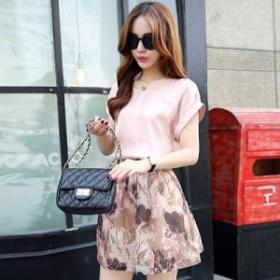 レディース ツーピースドレス 半袖カットソー 無地 ミニスカート 花柄 総柄 春夏 ピンク S M L XL 送料無料