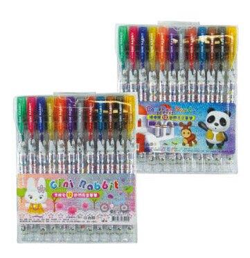 吉妮家族  2300900  12色閃亮金蔥筆 A/B (款式隨機出貨) / 盒