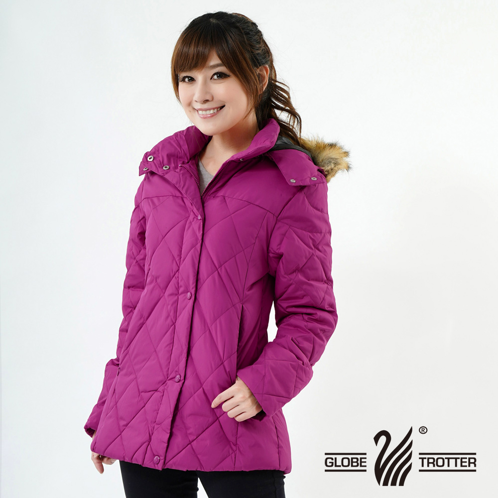 【遊遍天下】女款JIS90%羽絨極暖防風防潑水中長版菱格羽絨外套A063玫紫