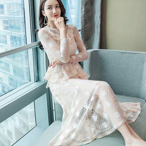 蕾絲玫瑰花V領顯腰感性女人味長洋裝[98685-QF]灰姑娘