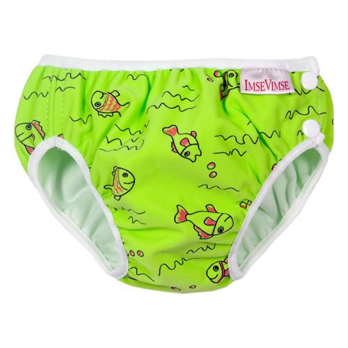 瑞典ImseVimse-超彈性防漏游泳尿褲(綠色小魚)