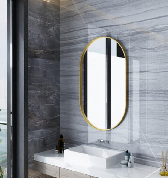 鏡子50*70cm 化妝鏡 浴室鏡 壁掛鏡橢圓鏡北歐衛生間鏡子壁掛浴室鏡梳妝洗手間鏡臥室鐵藝橢圓長條
