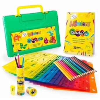 ステンシル ドローイングアートセット 色えんぴつ スケッチパッド お絵かき ぬりえ 教育 創造性 お勉強 Mimtom Drawing Stencils for Kid