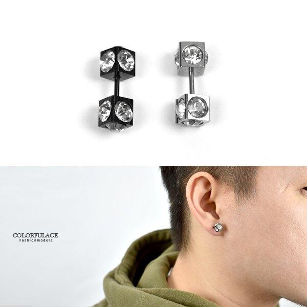 男生耳環 鋼製雙頭0.6CM方面單鑽【ND683】